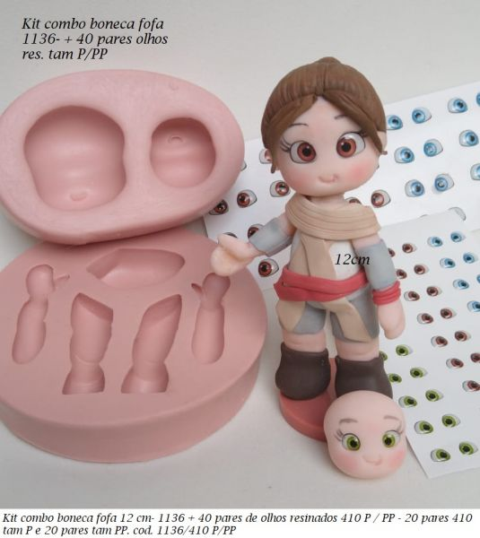 Kit combo boneca fofa 1136 + 40 pares olhos res 410 P/PP