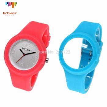 26a51e43d79 Novo relógio intercambiável Quartz troca pulseira colorida de silicone
