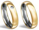 102018 - alianças de compromisso, noivado ou casamento - Aço inox, recapadas de ouro 18k