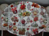 Bandeja Plástica Natalina Oval Rasa Boneco de Neve Grande 3x36x47 cm