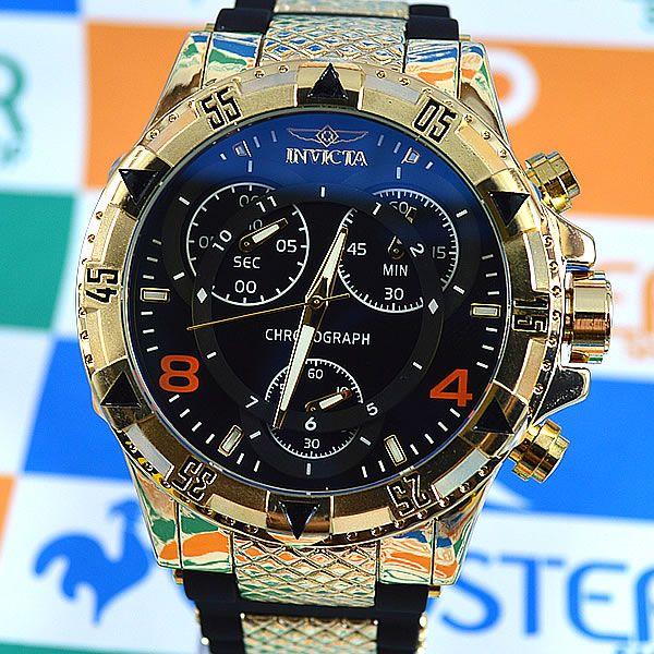 961493f4caf Relógio Invicta Excursion Funcional Dourado Fundo Preto Pulseira Borracha  Masculino à prova D´água