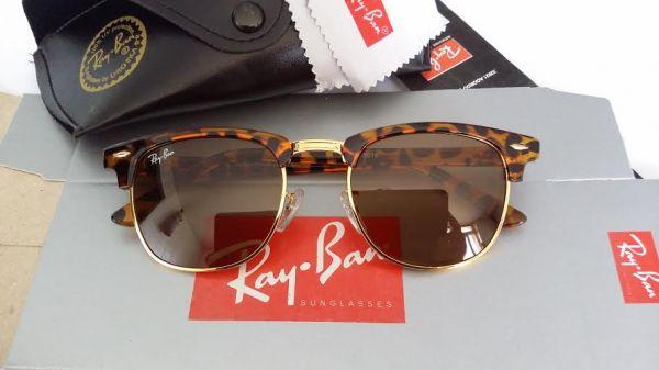 óculos ray ban  clubmaster lente  de cristal