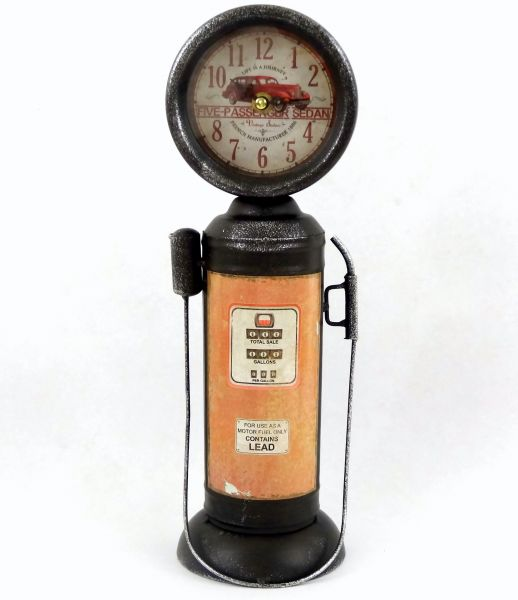 Relógio Bomba De Gasolina Redonda Latão Vintage Five-Passenger