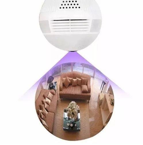 Lâmpada Espiã Câmera Ip Led Wifi Hd Panorâmica 360º Celula