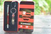 Flamengo Caneta e Chaveiro na Lata