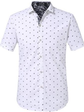 90e286426bcce Camisa Branca Estampada Âncoras Manga Curta - Homem dos EUA