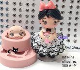 Kit Boneca Nina 11cm + 30 pares de olhos resinados 380A  P