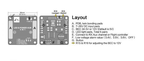 PDB Matek 5 em 1 para Drones Racer FPV (BEC / Distribuição / Aviso de Tensão / Localizador e Leds)