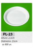 PL-23 PRATO REFEIÇÃO ISOPOR 23 CM C/ 600 UN.
