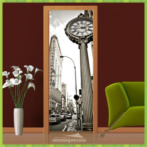Adesivo Porta - Relógio New York - Mundo 022