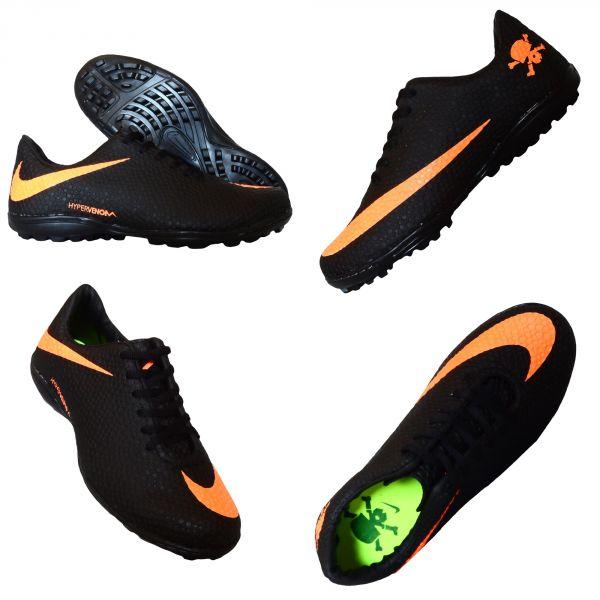 d96f6cf630b23 Klink Modas e Decoração. Chuteira Society Nike Hypervenom Preto e Laranja