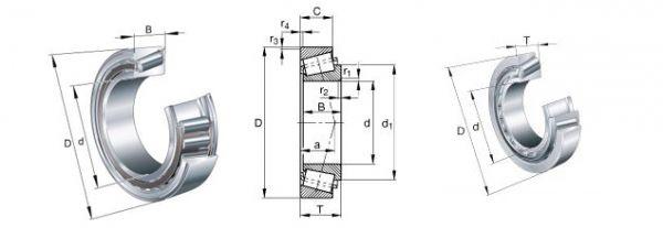 T2ED050  = Rolamentos de rolos cônicos