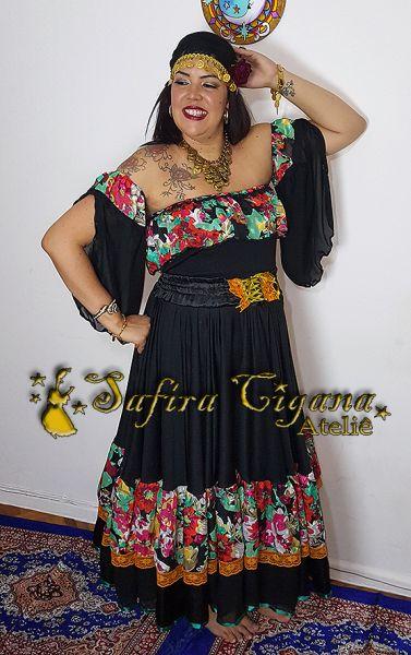 40f173e1c Conjunto Preto Renda Laranja - Safira Cigana Ateliê