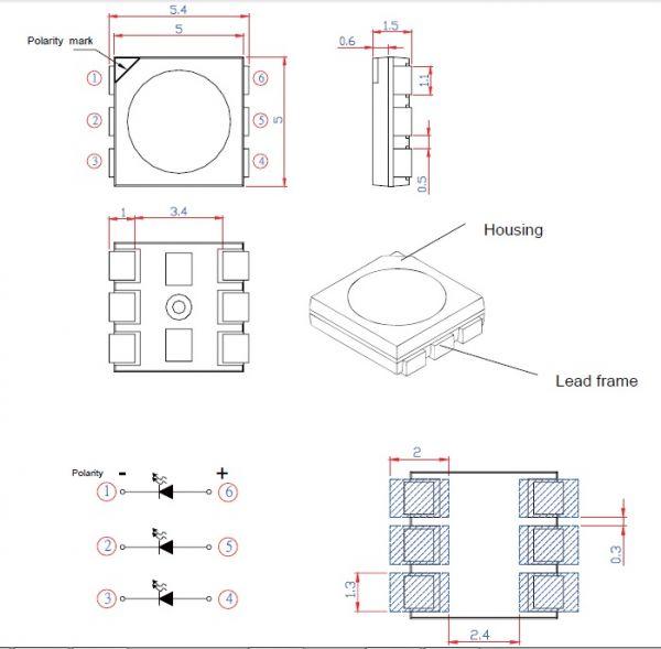 1000 pçs LED 0,2W PLCC5050 Branco Neutro (01 carretel)