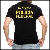 Camiseta Eu Apoio A Polícia Federal - Preta