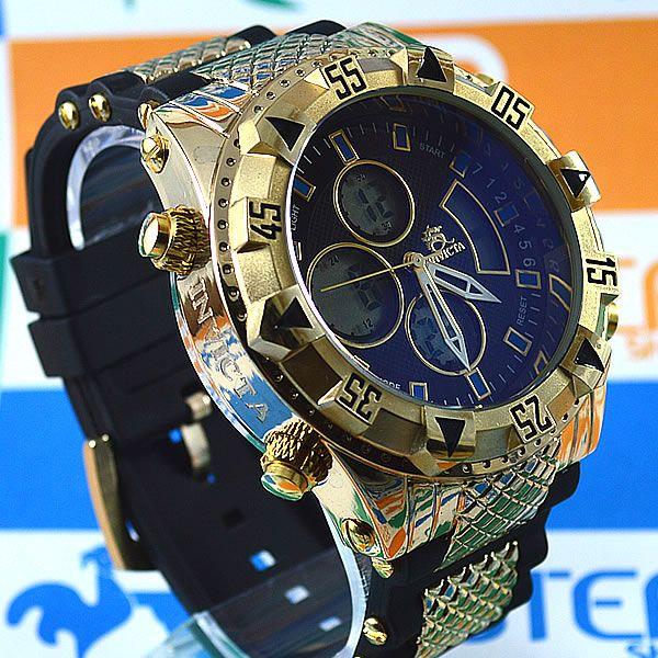 300dbf6c4e6 Relógio Invicta Subaqua Double Dourado Fundo Preto Pulseira Borracha  Masculino à prova D´água