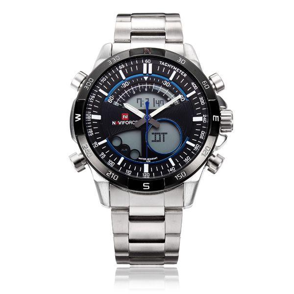 fa32a17efc1 Relógio Masculino Naviforce NF9031 Analógico e Digital Luz Noite Data  Pulseiras de Aço Inoxidável