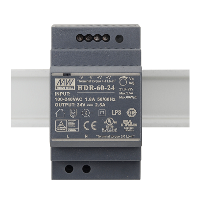 HDR-60-24 Fonte Chaveada Industrial p/ Trilho DIN 24V / 2,5A Original Mean Well
