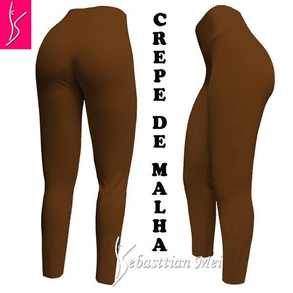 Legging caramelo (60/62) em crepe de malha, cintura alta,gramatura média