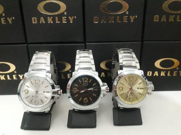 fa46bf462d6 PROVA D´AGUA Kit c 3 Relógios Oakley C  Calendário Aço Inoxidável na ...