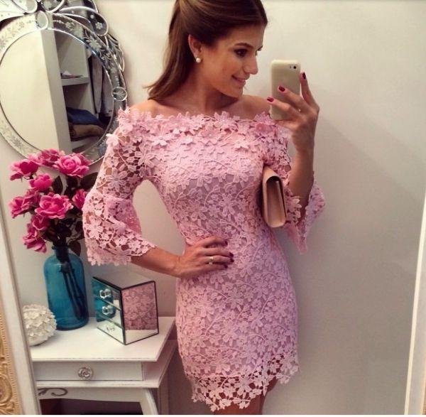 Vestido rendando pink