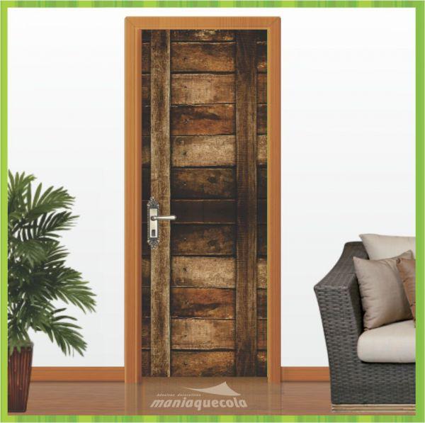 Aparador De Livros Turquesa ~ Adesivo Porta Porta de Madeira Rústica Criativo 010 Mania Que Cola Adesivos Decorativos