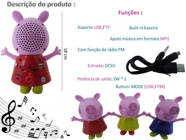 Caixa de Som Speaker Peppa Pig - Mp3, Rádio Fm, Speaker, Cartão de