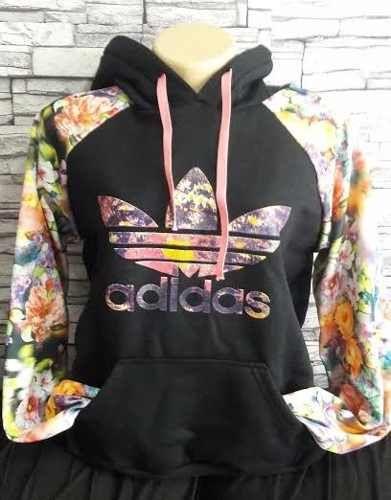 b5d80d5138c Blusa Moletom Adidas Preta Floral 2 - Outlet Ser Chic