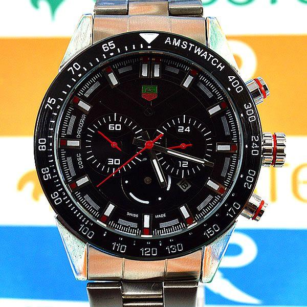2d83815713e Relógio Tag Heuer Formula 1 Funcional Prata Fundo e Aro Preto Pulseira Aço  Masculino à prova