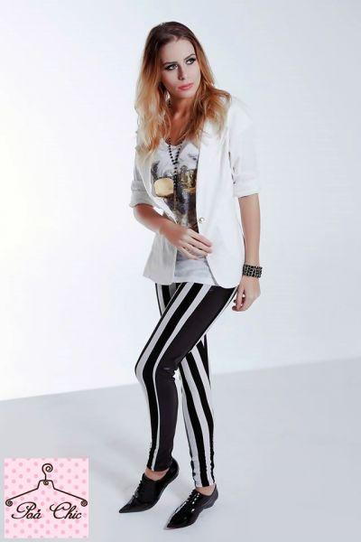 Legging Stripes [ Listras ]  Preto e Branco - com detalhe lateral em preto