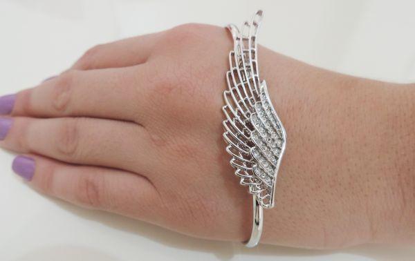 pulseira de mão asa prata