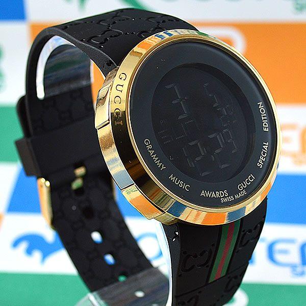 f57701eb7e5 Relógio Gucci Grammy Awards Digital Dourado Pulseira Borracha Preta Unissex  À PROVA D´ÁGUA