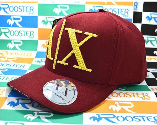 Boné Armani Exchange AX Classic Vermelho Logo Dourada Aba Curva Strapback ffb1fadd5b991