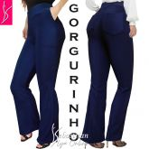 calça feminina azul GG(46),com bolsos atrás e na frente, tecido gorgurinho