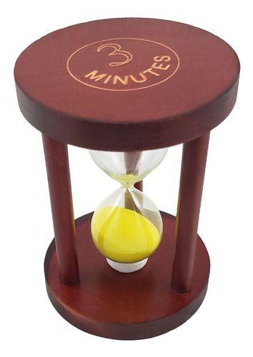 Ampulheta de Madeira 3 Minutos - 10 cm
