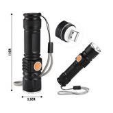 Mini Lanterna Tática Recarregável Usb + Zoom Led T6