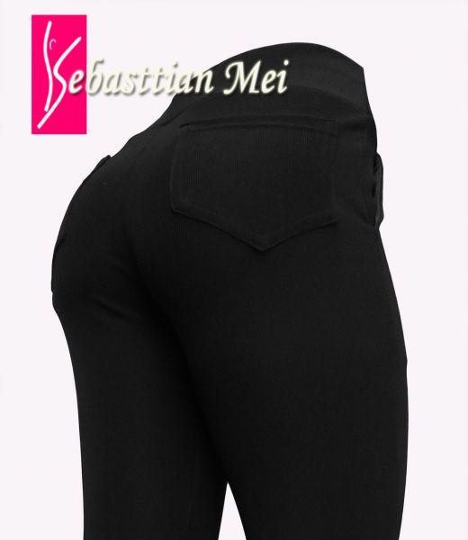 calça feminina preta com bolsos (46) na frente e atrás, tecido gorgurinho.