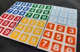 Adesivos para fazer um cubo SUDOKU Números 6 cores 3x3 56 a 57mm