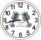 Relógio Parede Bodas De Zinco, Estanho