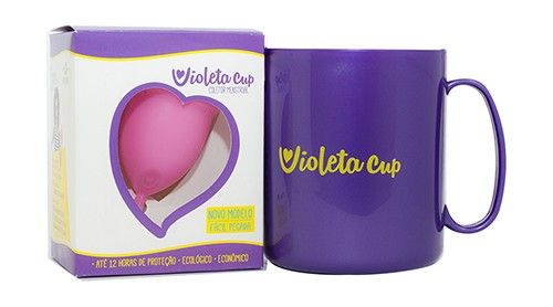 Violeta Cup - Tamanho A - Rosa - Kit com Caneca