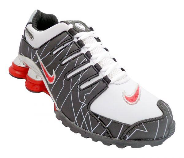 cd8abf65ad Tênis Nike Shox NZ Branco Preto e Vermelho cromado - Mega Mix Calçados