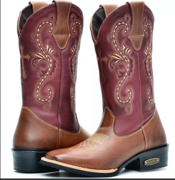9af6f699dd Bota Feminina Texana Country Em Couro Bico Quadrado - Loja de ...