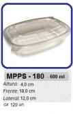 MPPS-180 EMBALAGEM PP FREEZER MICROONDAS 600 ML C/ TAMPA C/ 120 UN.