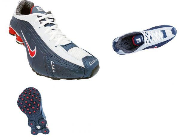 ... top quality switzerland tênis nike shox r4 cromado azul e vermelho  mod11770 réplica caa48 09f38 c8f53 3ee624f127abf