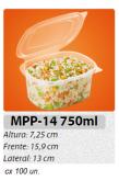 MPP-14G EMBALAGEM PP FREEZER MICRO-ONDAS TAMPA ARTICULADA 750 ML C/ 100 UN.