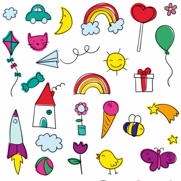 Papel de parede infantil desenhos coloridos papel 195 for Papel para pared infantil