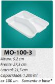 MO-100-3 BANDEJA 3 DIVISÓRIAS 1200 ML C/ 100 UN.