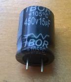 ELETROLÍTICO 15X450 15uFX450V 105º 13X18mm
