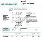 GE120-UK-2RS ROTULAS ESFERICAS - BUCHAS RADIAS 120X180X85X70