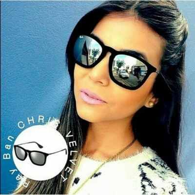 e5d6985f9 Óculos Style Rayban Chris Velvet - Preto com lente espelhada - Miami ...